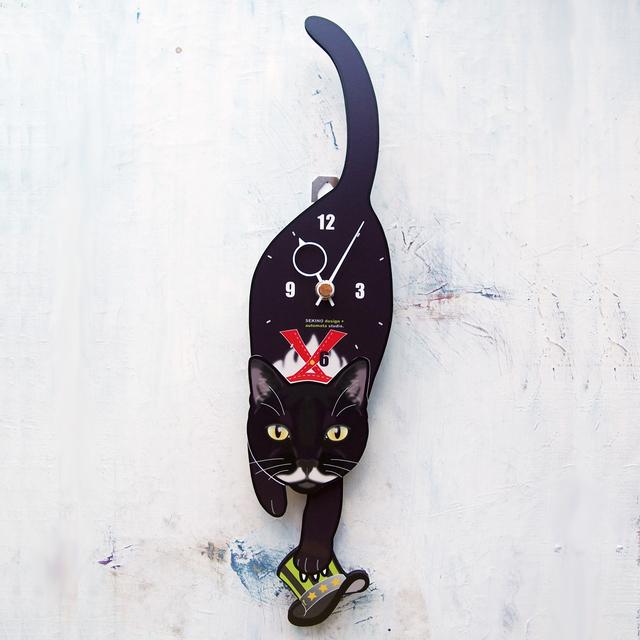 C-18-2 黒白(ヒゲ紳士)-猫の振り子時計