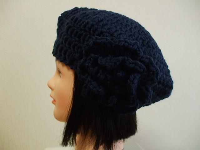 お花モチーフ付きニットベレー帽 成人女性用 紺