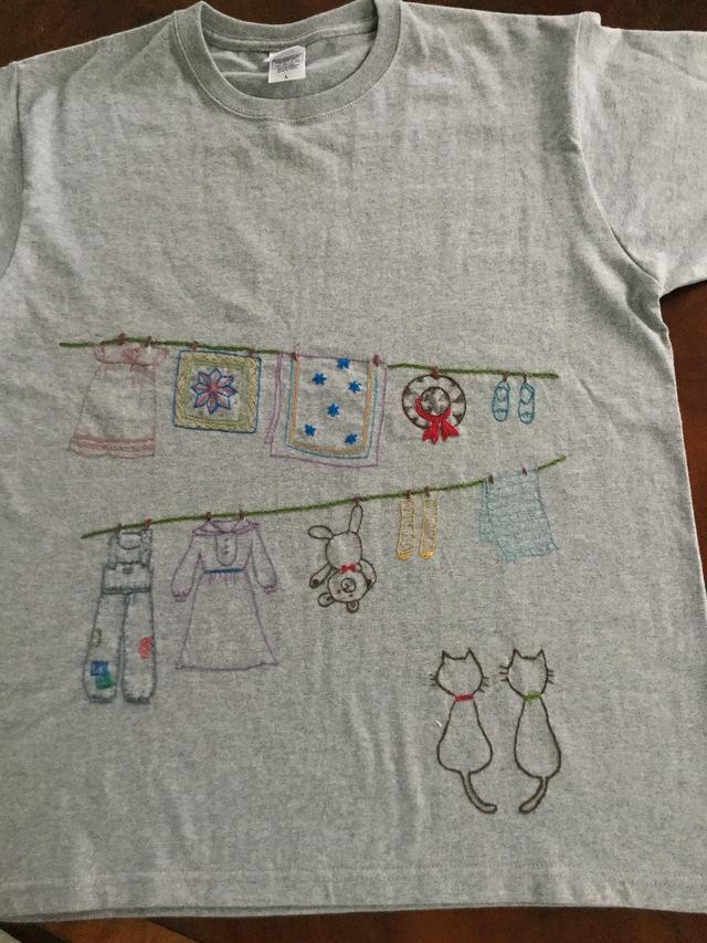 手刺繍Tシャツ  お洗濯日和だにゃ~ん