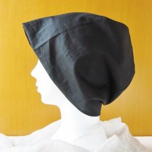 夏に涼しく下地にもなる ゆったりガーゼ帽子 黒(CGL-005-B)