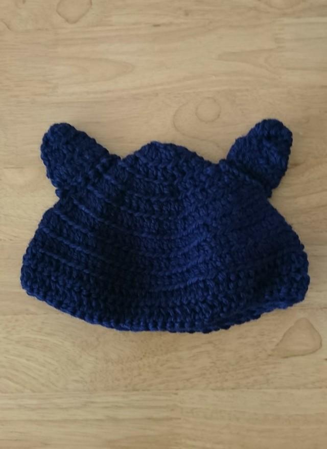 ウールのネコ耳 ニット帽 ベビー  48cm