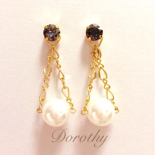 black & chain pearl (ピアス)