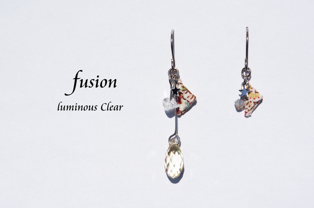 fusion pierced earring ~luminous clear~