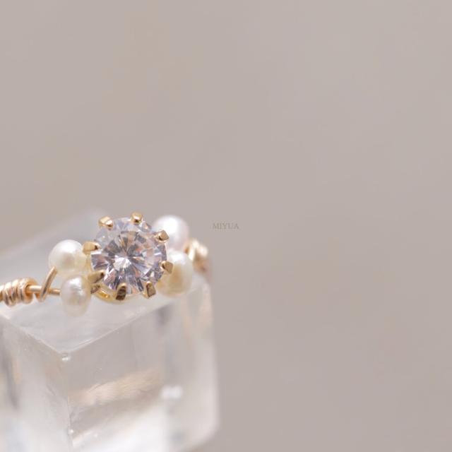 煌煌の指輪 淡水パール CZダイヤモンド