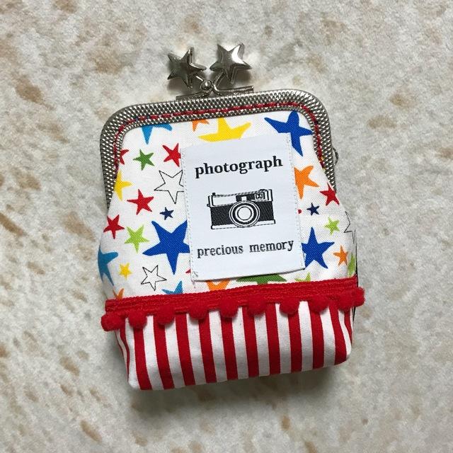 星とカメラ*ポップがま口ミニポーチ