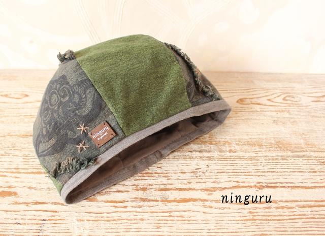 深緑とグレーの版 ベレー帽(NO.1)