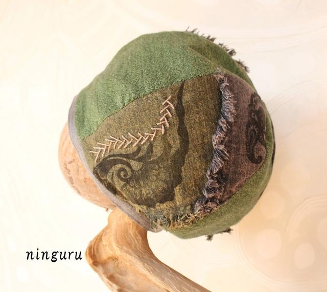 深緑とグレーの版 ベレー帽(NO.2)