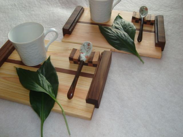 檜の ティートレイ2組セット、スプーン...