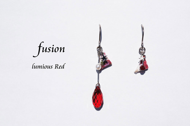 fusion pierced earring ~luminous red~