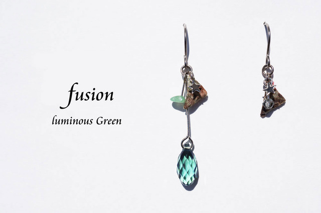 fusion pierced earring ~luminous green~