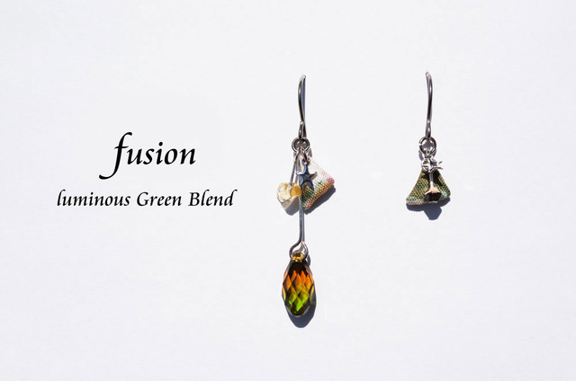 fusion pierced earring ~luminous green blend~