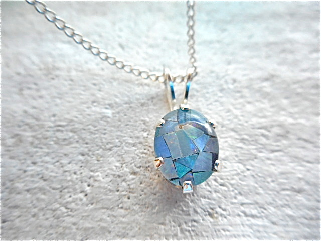 mosaic Opal Necklace  <silver 925>