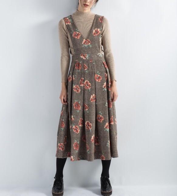 383100a1988d8  受注製作 花柄コーデュロイ・ジャンパースカート