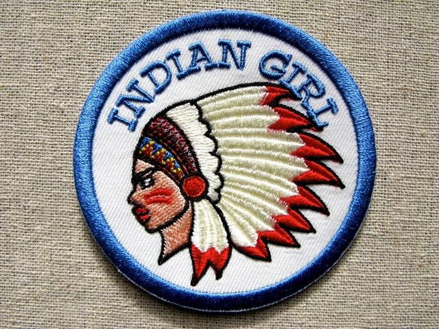 『インディアン・ガール』刺繍ワッペン・パッチ