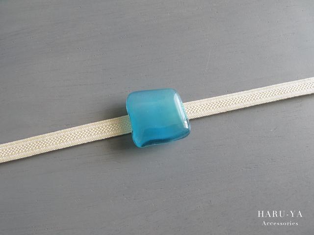 帯留め ガラス*エメラルドブルー
