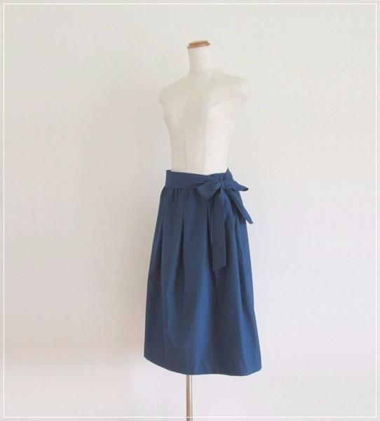 navy* リボンつきギャザースカート