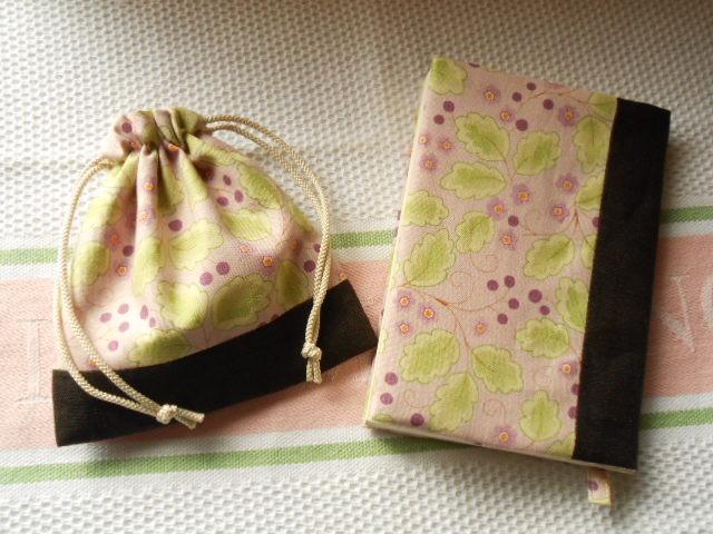 リネンとコットンの文庫本用ブックカバー&ミニ巾着セット