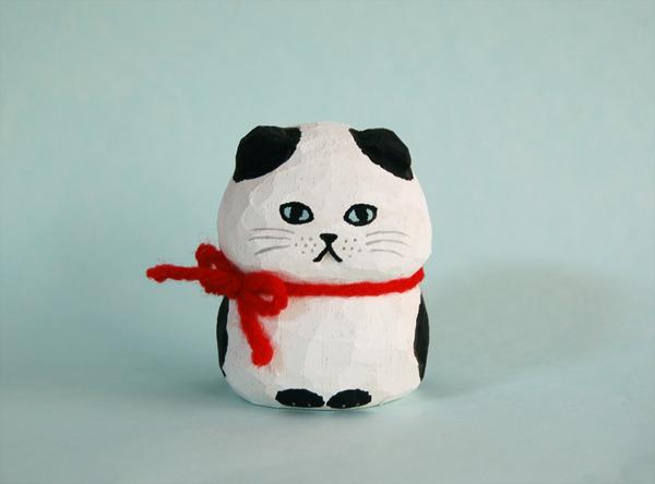 木彫り人形 スコティッシュ 白×黒  [MWF-086]