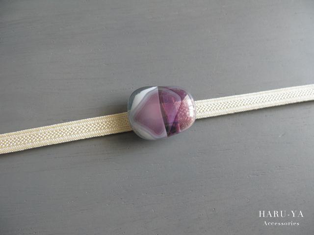 帯留め ガラス*白×紫