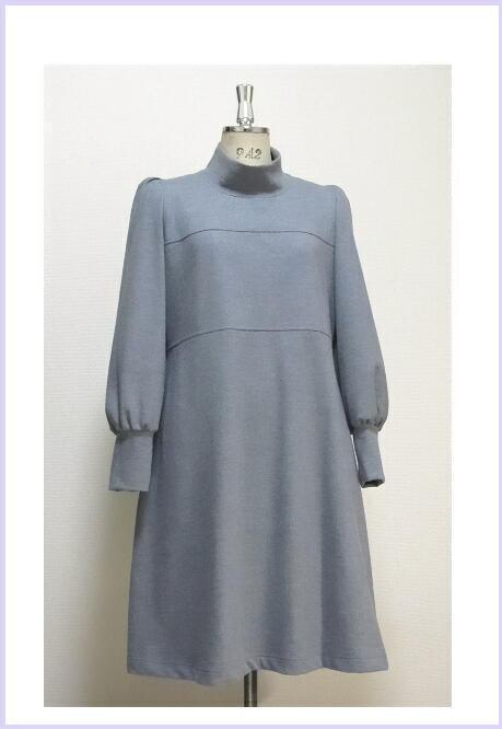 Aライン☆ウール☆大人のハイネックドレス