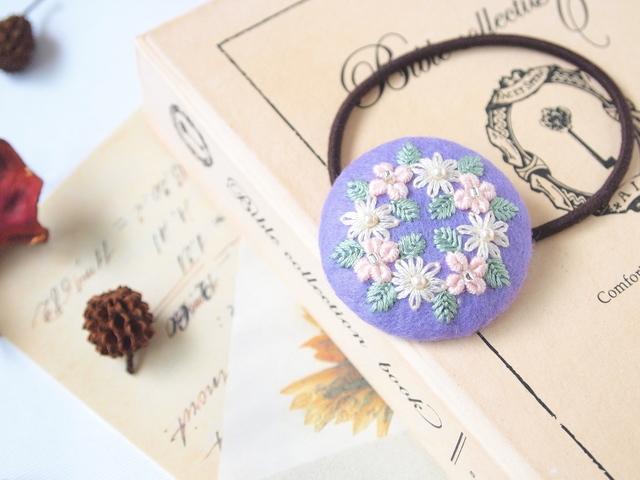 刺繍ヘアゴム 直径4センチ