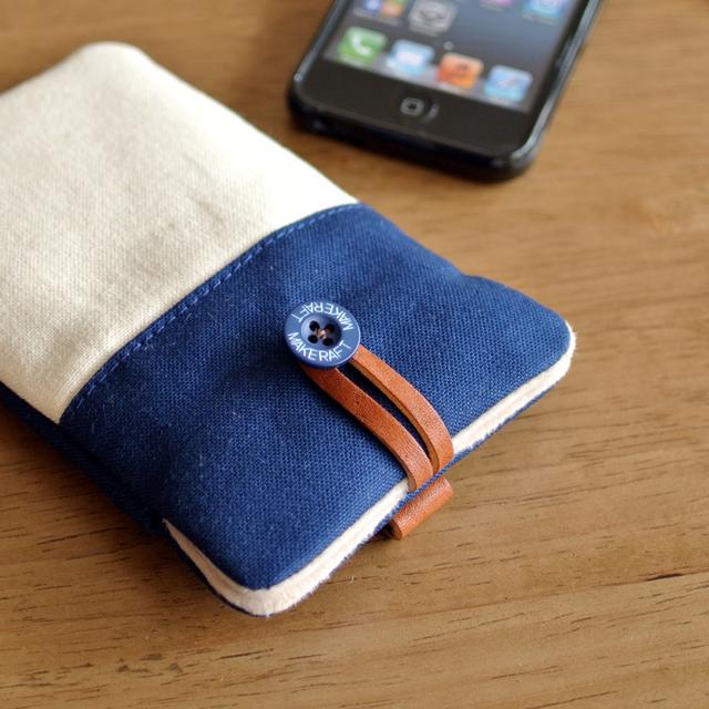 【L】iPhone7Plus 6sPlus 6Plus スマホケース(帆布ネイビー)