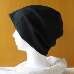夏に涼しく下地にもなる ガーゼ帽子 黒(CGR-001-B2)