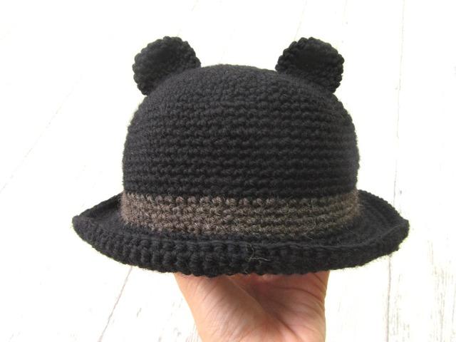 ウールのくま耳帽子 ブラック  45〜50cm