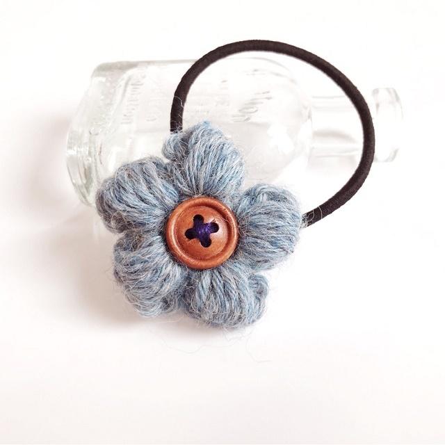 アルパカ花のヘアゴム*ブルー