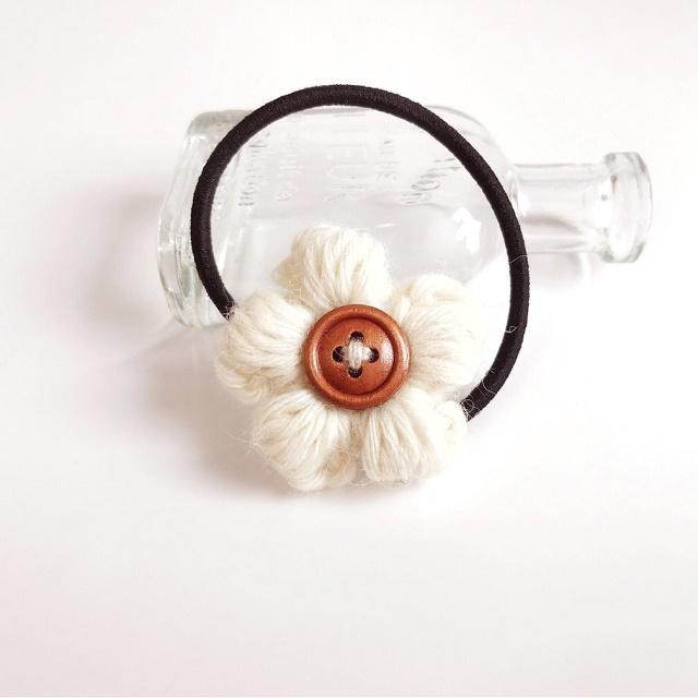 アルパカ花のヘアゴム*オフホワイト