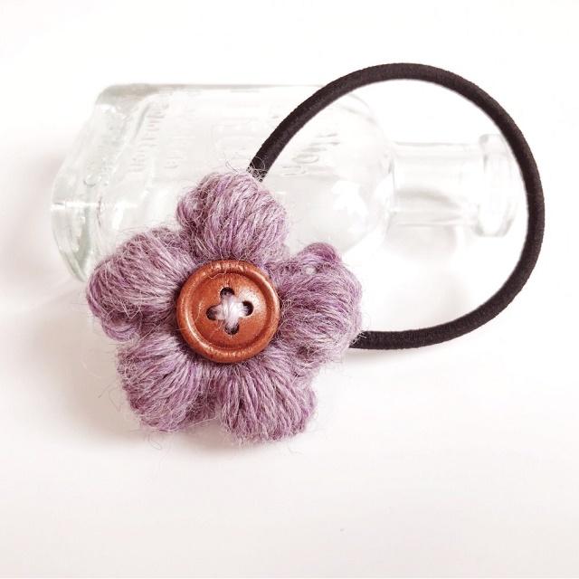 アルパカ花のヘアゴム*パープル