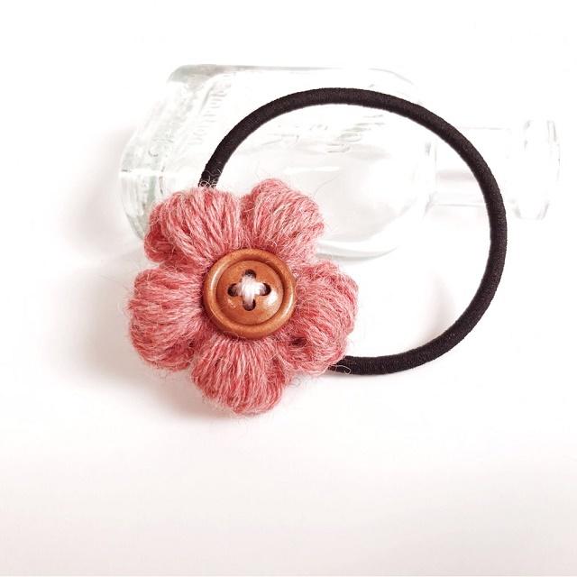 アルパカ花のヘアゴム*レッド