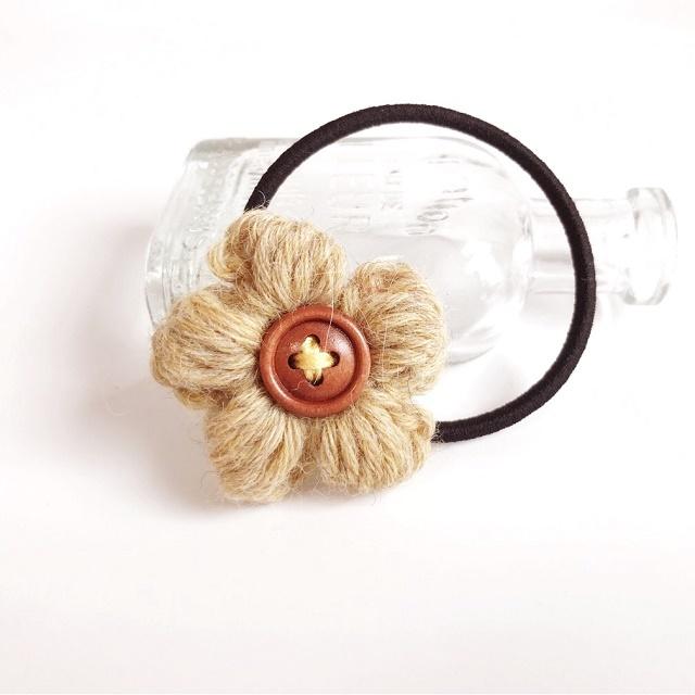アルパカ花のヘアゴム*イエロー