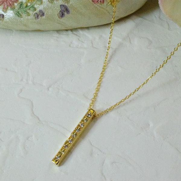 K18ダイヤモンドラインバープチネックレス