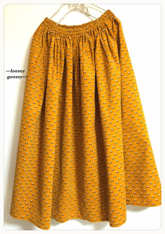 【SALE】あったかコーデュロイのロングスカート*マスタードイエロー*小花柄