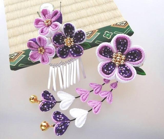 梅鉢柄紫 梅の花飾り2wayクリップピン&...