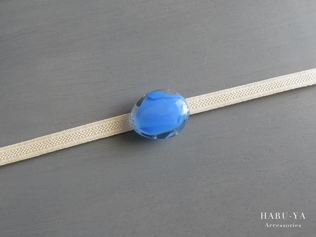 帯留め ガラス*透明×ブルー