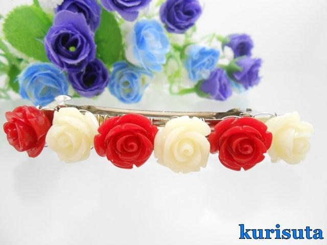 小輪薔薇バレッタ 紅白 人工石