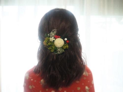 着物に合う髪飾り・ホワイトピンポン