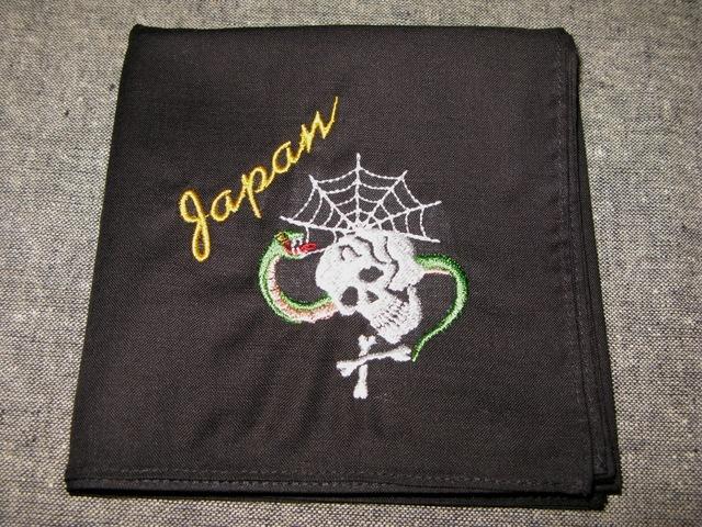 『スカバンダナ 髑髏&蛇』刺繍バンダナ・スカーフ