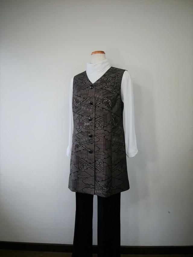 大島紬のロングベスト V-10 着物リメイク