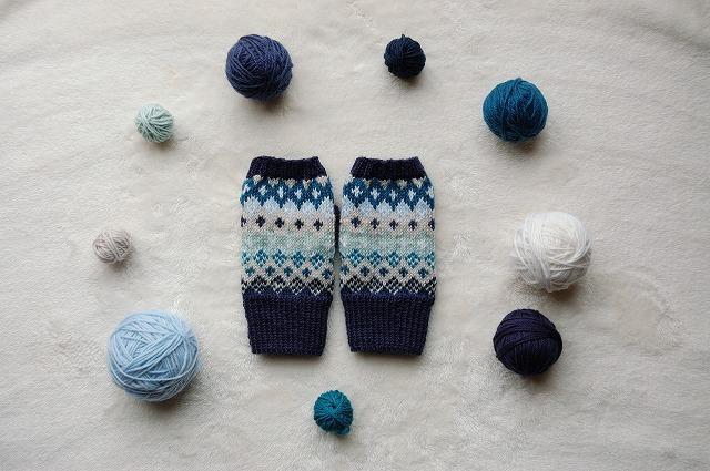 手編みの指なしミトン  【Blue】