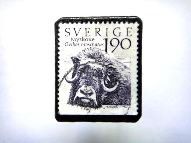 スウェーデン「野牛」 切手ブローチ693
