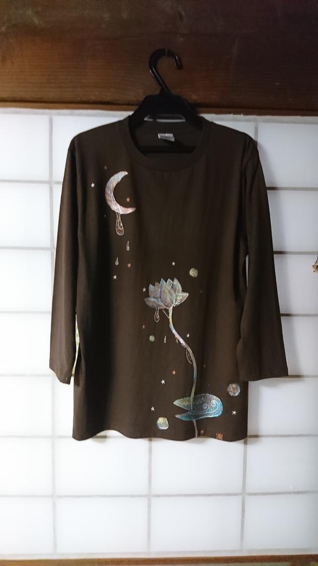 手描き☆月星夜の蓮シャツ♪