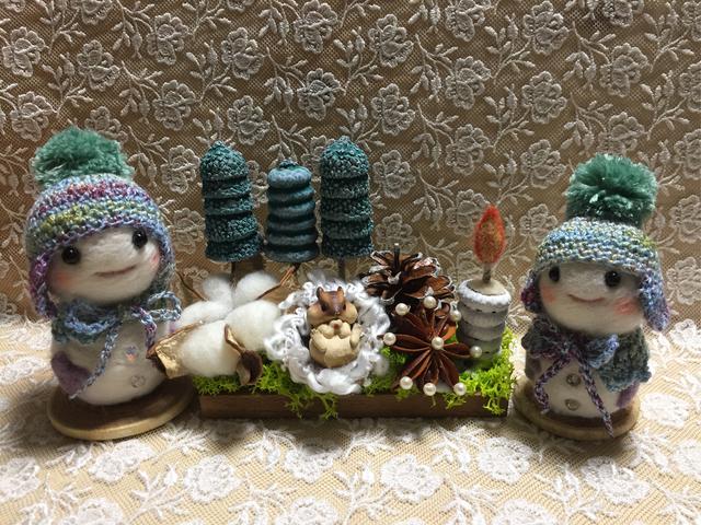 羊毛フェルト 森の冬飾り&雪だるまセット