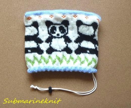 パンダ柄の手編みアイアインカバー(monsieur様オーダー品)