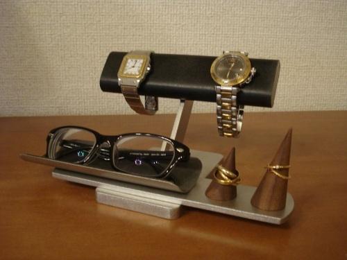父の日プレゼント ブラック2本掛け腕時計、ダブルリング、メガネスタンド ★リングスタンド未固定