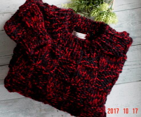 ☆彡☆黒&赤の市松編み模様のプルオー...