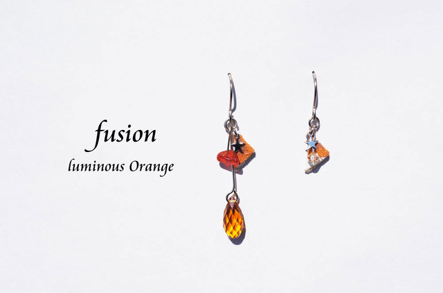 fusion pierced earring ~luminous orange~
