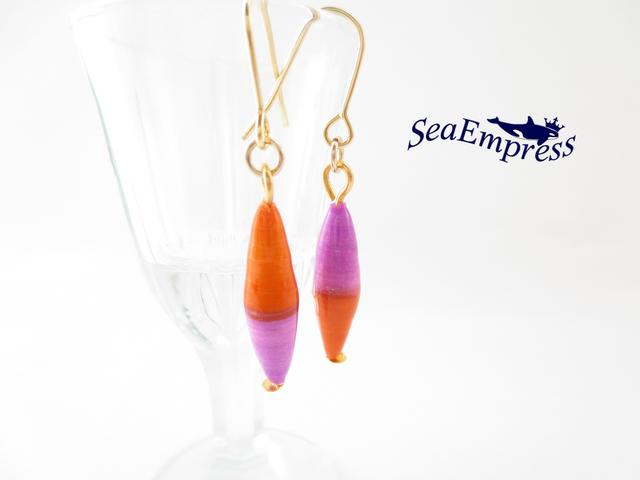 オレンジと薄紫のペーパービーズ*レジン...